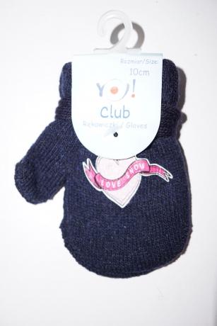 Rękawiczki dziewczęce jednopalcowe 12cm granatowy wzór serce