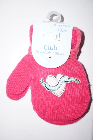 Rękawiczki dziewczęce jednopalcowe 14cm różowy wzór serce