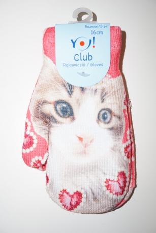 Rękawiczki dziewczęce jednopalcowe 14cm wzór kot