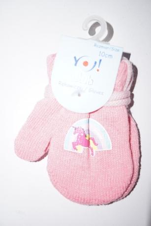 Rękawiczki dziewczęce jednopalcowe 10cm różowy wzór tęcza jednorożec różowy