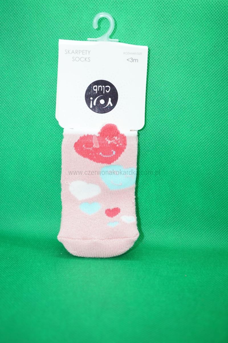 Skarpetki bawełniane frotte niemowlęce <3m wzór Serduszka