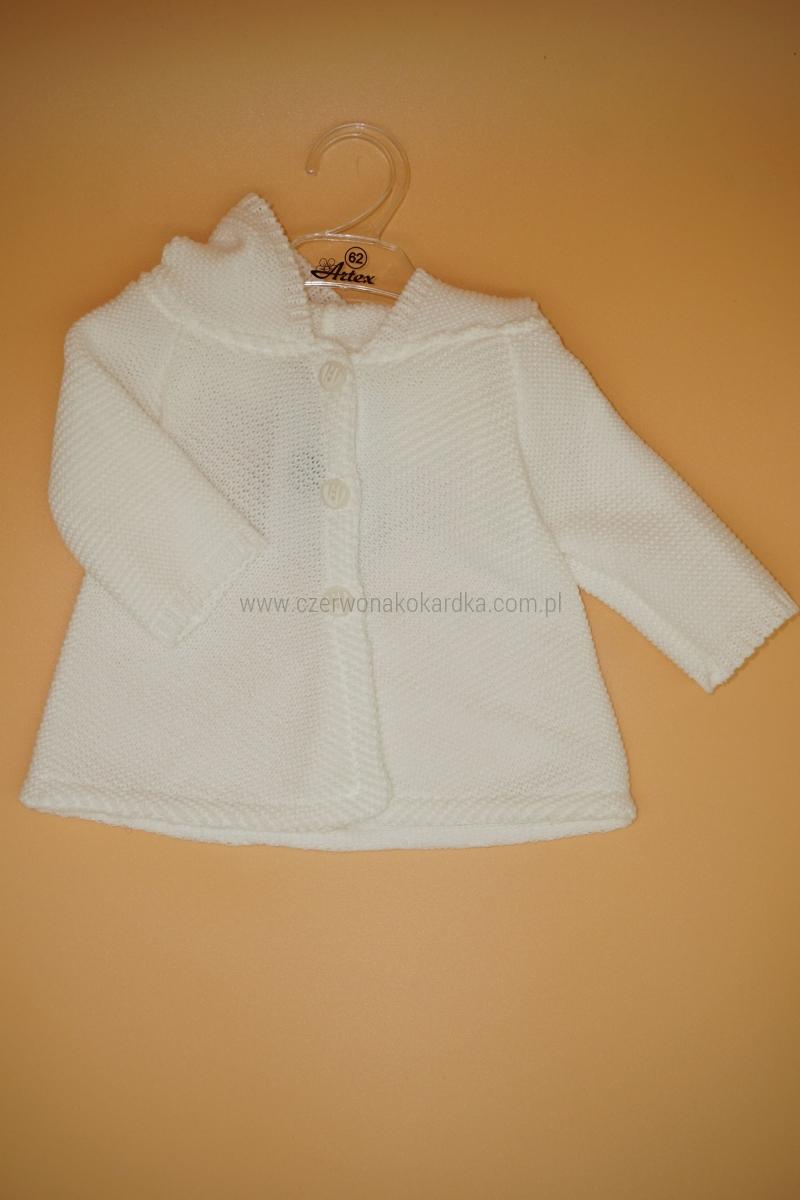 Sweterek Dziewczęcy 68 z kapturem Chrzest biały