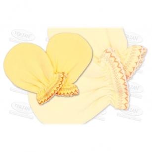 Łapki niedrapki rękawiczki z kroszetką r.2 żółty