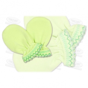 Łapki niedrapki rękawiczki z kroszetką r.2 zielony