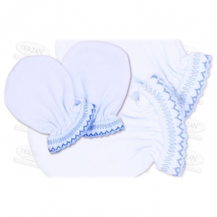 Łapki niedrapki rękawiczki z kroszetką r.2 niebieski