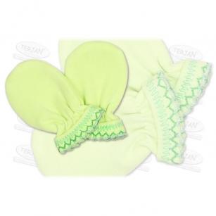 Łapki niedrapki rękawiczki z kroszetką r.1 zielony