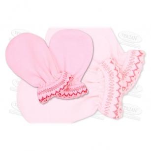 Łapki niedrapki rękawiczki z kroszetką r.1 różowy