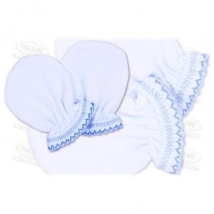 Łapki niedrapki rękawiczki z kroszetką r.1 niebieski
