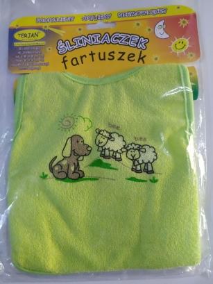 Śliniak fartuszek zielony Pies i Owce