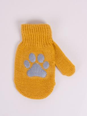 Rękawiczki jednopalcowe chłopięce akrylowe z odblaskiem 12cm żółty