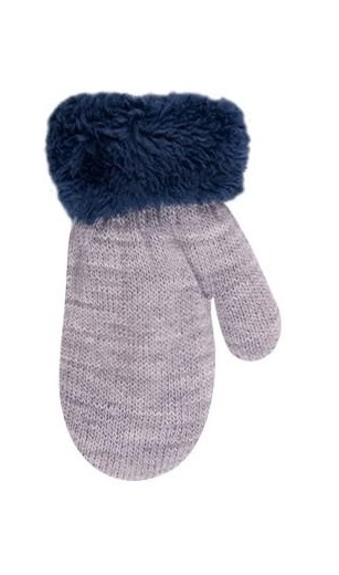 Rękawiczki chłopięce ze sznurkiem futerko 12cm szary
