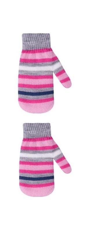 Rękawiczki dziewczęce podwójne akrylowe w paseczki 16cm różowo-szary