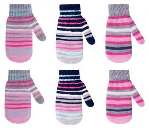 Rękawiczki dziewczęce podwójne akrylowe w paseczki 14cm czarno-szary
