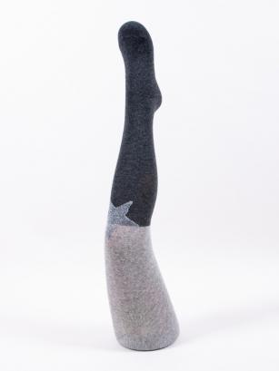 Rajstopy bawełniane dziewczęce wzór srebrna gwiazda r.128/134 szary/grafit