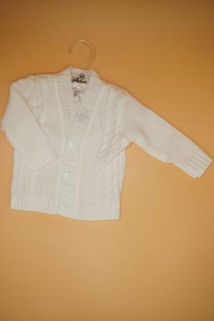 Sweterek Chłopięcy 74 warkocz biały