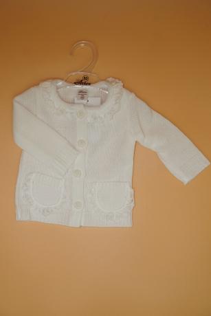 Sweterek Dziewczęcy 62 kieszonka biały