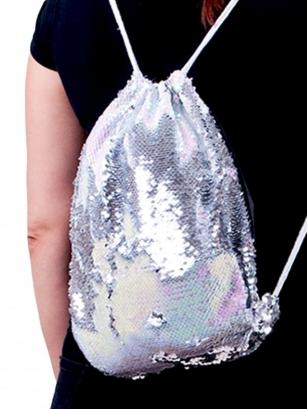 Plecak z cekinami odwracalnymi jasny róż i srebrny