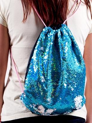Plecak z cekinami odwracalnymi niebieski  i srebrny