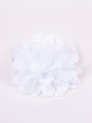 Opaska dziewczęca duży kwiatek biały 38-44cm
