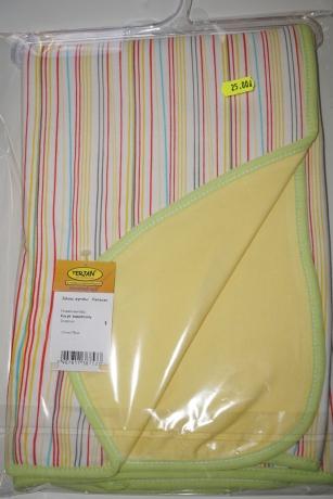 Kocyk bawełniany żółty  - jasnozielona lamówka
