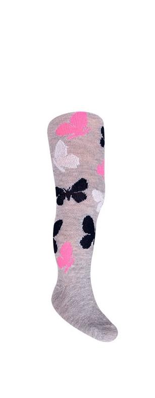 Rajstopy bawełniane dziewczęce wzór kolorowe motylki r.68/74 szary