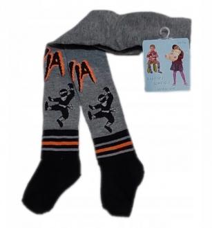 Rajstopy bawełniane dziecięce wzór ninja r.68/74 szary
