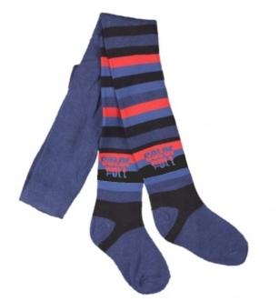 Rajstopy bawełniane dziecięce wzór paski r.116/122 czarno-niebieski