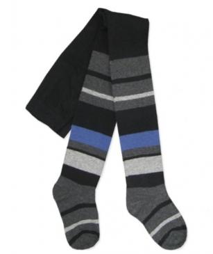 Rajstopy bawełniane dziecięce wzór paski r.116/122 grafit z niebieskim