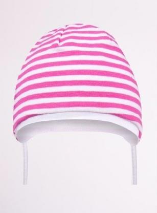 Czapka przejściowa podwójna dziewczęca paski różowo-biały r.36-38cm