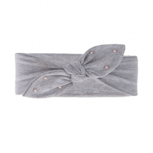 Opaska bawełniana z perełkami dziewczęca jesienna/wiosenna Helenka jasnoszary r.52-54cm